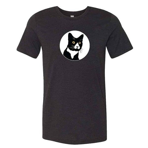 black t-shirt with cat logo design