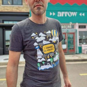 t-shirt with colorful graphic design worn by male model