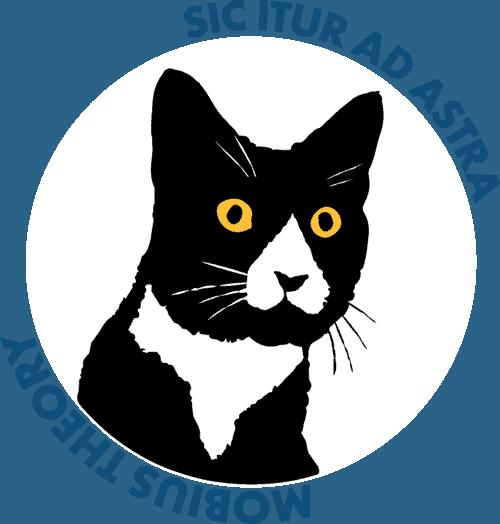 daft cat logo with latin text