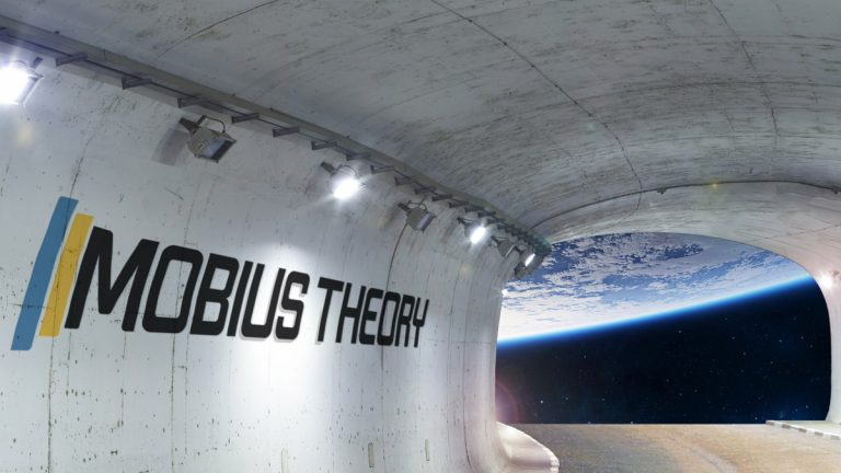 company logo on the interior of a space station overlooking earth