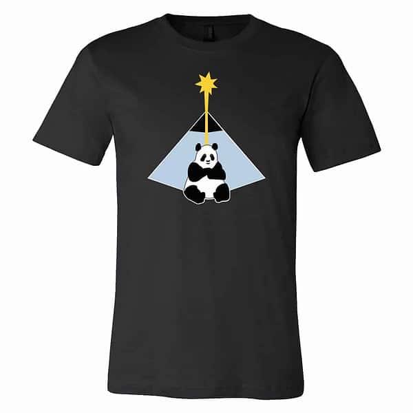 mockup of black tshirt with illustraton of panda and pyramid