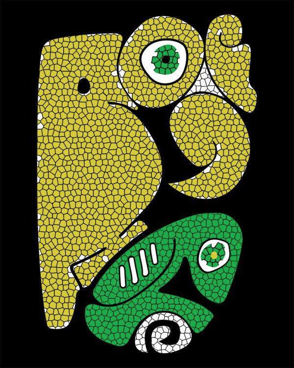 andean condor design in yellow and green colors